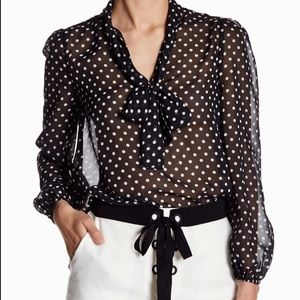 NWT Endless Rose Tie Front Polka Dot Blouse - F